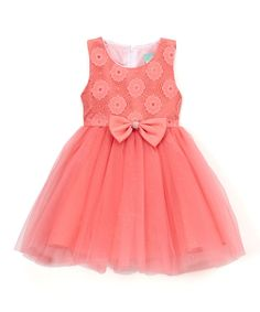 Coral Floral-Lace A-Line Dress - Infant Toddler & Girls