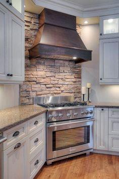Small Wall Big Impact in Kitchen Design Diy Home Decor Rustic, Home Decor Kitchen, Interior Design Kitchen, Home Kitchens, Kitchen Rustic, Rustic Backsplash Kitchen, Kitchen Ideas, Ovens In Kitchens, Kitchen With Brick