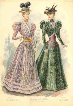 April 1897 the Deliniator 1890s Fashion, Edwardian Fashion, Vintage Fashion, Vintage Mode, Vintage Ladies, Vintage Glamour, Vintage Outfits, Retro, Belle Epoch