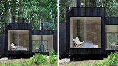 maison cube en bois contemporain noir