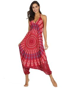 African Tribal Circle Print Baggy Harem Pants Laceup Back Jumpsuit Red Bodycon Jumpsuit, Red Jumpsuit, Jumpsuit Style, Type Of Pants, Rompers Women, Long Pants, Harem Pants, Backless, Lace Up