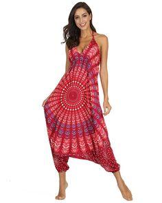 African Tribal Circle Print Baggy Harem Pants Laceup Back Jumpsuit Red Bodycon Jumpsuit, Red Jumpsuit, Jumpsuit Style, Type Of Pants, Rompers Women, Harem Pants, Backless, Lace Up, Summer Dresses