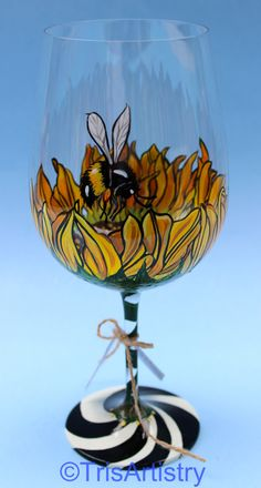 Hand Painted Sunflower & Bumble Bee Wine Glass 4 by TrisArtistry
