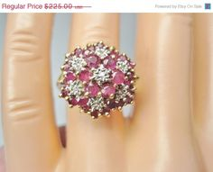 On Sale Vintage Ruby Diamond Cluster Ring  Sz by BejeweledEmporium, $213.75