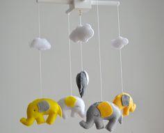Grey and Yellow Elephants Baby Mobile, Crib Mobile, Nursery Decor, Elephants Mobile