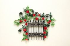 Paper quilling The gate Guess what something there behind the gate Materials: color paper strips, glue, deep frame, glass Frame size (mm): 260 x Quilling Flowers, Quilling Cards, Paper Quilling, Quilling Patterns, Quilling Designs, Quilling Ideas, Paper Art, Paper Crafts, Diy Crafts