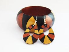 African Bangle Gold Bronze Wood Bangle Handmade Hand painted Bangle Earring Jewelry Set Bracelet African Bangles Afrocentric Tribal Modern by TheBlackerTheBerry