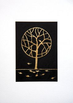 Original watercolor painting gold tree leaves O7  A4 by VApinx, $64.00