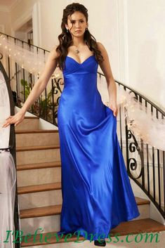 Satin Strapless Nina Dobrev Blue Evening Party Gowns On Vampire Diaries