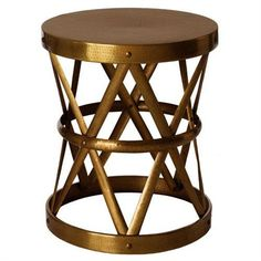 The Costello Side table from Arteriors is a fun hammered drum style side table.  The open design makes the iron tables feel light and airy. Side table also available in Dark English Bronze.  Smaller, accent table also available.