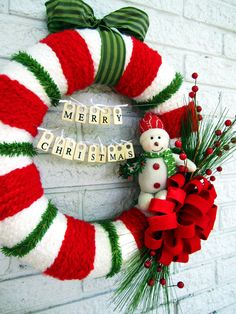 Merry Christmas Snowman Wreath