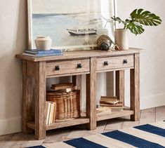 Accented with grooves and saw marks that hint at an industrial past, our Benchwright Console Table is rich in character. Entryway Console, Entryway Tables, Entryway Ideas, Foyer, Sofa Tables, Console Tables, Kiln Dried Wood, Wood Drawers, Extendable Dining Table