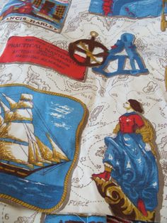 Vintage Drapes Curtains Pair of Panels Nautical Theme Upcycle Fabric Supply