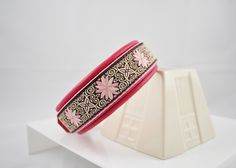 Celtic Pink Leather and Trim Dog Collar 1 Inch Wide