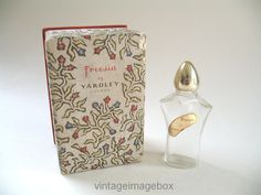 Yardley of London Freesia vintage perfume bottle 1950s, boxed, Deco style glass