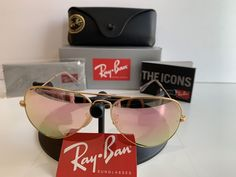 44167e1f90 RAY BAN AVIATOR 58MM PINK MIRROR FLASH POLARIZED RB 3025  fashion  clothing   shoes
