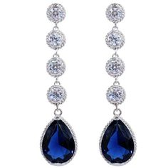 Amazon.com: Yazilind Elegant Silver Plated Round Pear Cut Sapphire Blue Cubic Zirconia CZ Flawless Dangle Earrings: Clothing
