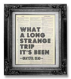 GRATEFUL Dead, Rock and Roll Art, SONG Lyric Art Typography Word Art, Rock MUSIC Poster, Jerry Garcia, Rock n Roll Decor - Long Strange Trip on Etsy, $10.00
