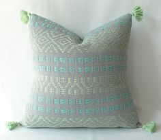 Woven Mint Green, Soft Lime & Gray Geometric Pillow Cover from Chiapas, Mexico. Decorative Pillow. Multi Color. on Etsy, $60.00