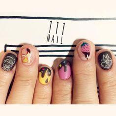 🍌🍓🍫♪💜 #nail#art#nailart#ネイル#ネイルアート…
