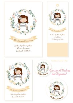 tyna party: Recordatorios Primera Comunión para niñas Communion Party Favors, Diy Presents, First Communion, Name Cards, Cute Illustration, Small Gifts, Artsy Fartsy, Christening, Logo Design