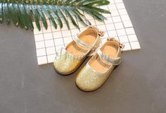 Gold / Silver / Lavender Sequin Wedding Flower Girl Shoes Baby Kids Bow Flats Princess Shoes #Gold #Lavender #Sequin