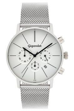 Gigandet Herren-Armbanduhr Minimalism Quarz Chronograph Uhr Datum Analog Edelstahlarmband Silber G32-005