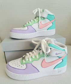 Nike Air Force Mid ' Icecream ' by sneakuniq Dr Shoes, Cute Nike Shoes, Swag Shoes, Cute Nikes, Cute Sneakers, Hype Shoes, Shoes Sneakers, Cute Addidas Shoes, Retro Sneakers