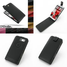 PDair Leather Case for LG Optimus G Pro F240 - Flip Top Type (Black)