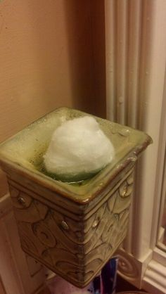 Place a cotton ball in your melted wax and watch it absorb the wax before your eyes. Easy way to switch scents. Use the cooled wax & cotton as fire starters.