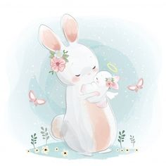 Find Angelic Mommy Baby Bunny stock images in HD and millions of other royalty-free stock photos, illustrations and vectors in the Shutterstock collection. Baby Animal Drawings, Cute Drawings, Bunny Art, Cute Bunny, Scrapbooking Image, Lapin Art, Baby Animals, Cute Animals, Rabbits
