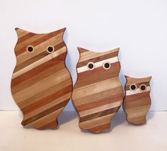 3 Owl Wood Cutting Board Set Handcrafted from Mixed by tomroche, $32.00