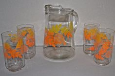 VINTAGE LIBBEY PITCHER & GLASSES SET AUTUMN LEAVES  FALL ORANGE & YELLOW RETRO