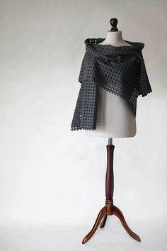 Wool scarf gray scarf shawl wrap fabric scarf by KnitwearFactory