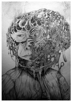 """A likeable portrait""  Exquisite corpse with Bernard Dumaine (France)    I did the facial blob...  Pencils on paper / 2011    • SOLD •"