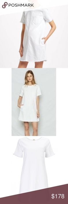 CURRENT/ELLIOTT - The Fray Edge Shift Dress CURRENT/ELLIOTT - The Fray Edge Shift Dress - fresh white denim dress with a  shift silhoutte. Easy-to-wear style with a relaxed & flattering fit. Size 1 (Small)   Color: Sugar (White)   Retail Price: $218   Great condition, worn twice - Shift dress with frayed hem & sleeves - One pocket on right hand side - Composition: 98% cotton, 2% elastane  - Exposed zip back closure Current/Elliott Dresses