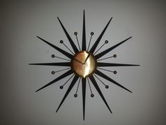 STARBURST CLOCK Key Wind 8 Day ATOMIC Black by TrippedOutAtomic Ceiling Fan Makeover, Florence Knoll, Design Movements, Mid Century Modern Design, Mid-century Modern, Chandelier, Interior Design, Wall Clocks, Palette