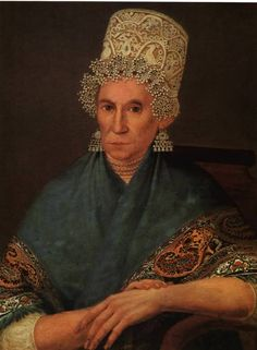 Portrait of a merchant woman from Russia from the mid. of the 19th c.