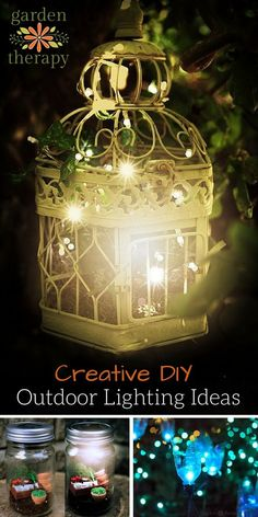 Creative Outdoor Lighting Ideas From DIY solar lights to candles mason jars to string lights this round up is full of creative outdoor lighting ideas to light up the garden at night. - Outdoor Lighting - Ideas of Outdoor Lighting Diy Solar, Solar Light Crafts, Solar Garden Lights, Solar String Lights, Solar Lamp, Fairy Lights, Backyard Lighting, Patio Lighting, Lighting Ideas