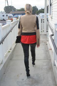 @Zara Lamey, #red, #black, #tan, #coat, #jacket, Leather, #gold, @Charlotte Willner Russe, #bun, #Clutch
