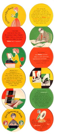 An insert from a Pelikan typewriter ribbon tin. Probably 60s, certainly perfect. Via writing ball.