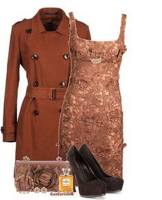 """Floral Copper Dress"" by cascarlisleg on Polyvore"