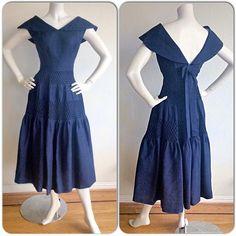 Vintage Navy Blue Rockabilly Dress / Silk Bow Sailor Dress W/ Nautical Theme / Mad Men Henri Bendel Royal Blue Full Skirt Dress Bow Skirt, Full Skirt Dress, Dress With Bow, Silk Dress, African Fashion Dresses, African Dress, Rockabilly Fashion, Rockabilly Dresses, Rockabilly Girls