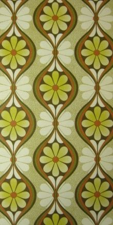 vintage wallpaper green floral pattern