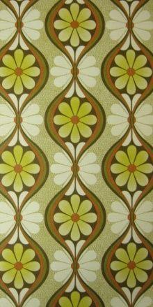 vintage wallpaper green floral pattern