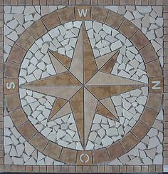 Schöner Wohnen Antikmarmor Kompass Rosone Kompassrosone 60x60  NDA018