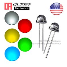 5-Lights-100pcs-5mm-LED-Diodes-Straw-Hat-White-Red-Green-Blue-Yellow-Mix-Kits