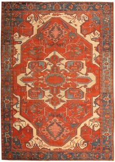 Learn about the different types of Heriz Serapi rugs & carpets. Read our Serapi Heriz rug guide to learn about this Oriental style & design. Persian Carpet, Persian Rug, Asian Rugs, Textiles, Modern Carpet, Carpet Design, Tribal Rug, Carpet Runner, Rugs On Carpet