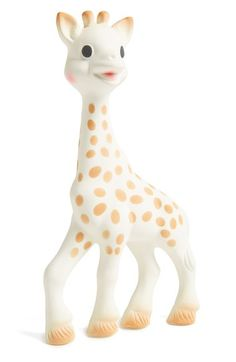 The best baby teether! Born in France in 1961, Sophie the Giraffe has a long history of helping teething babies. Derived from natural rubber and food paint, she is safe to chew. Her shape is easy for baby's hands to grasp, and she makes a delightful squeak when her tummy or head are squeezed.