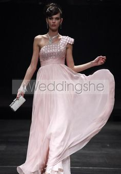 Gorgeous One-Shoulder Beadings Empire Prom/Evening Dress(Free Shipping)
